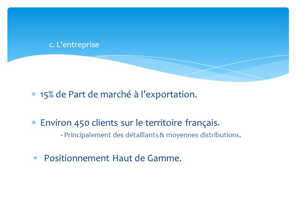 15% de Part de marché à lexportation. Environ 450 clients sur le territoire français. - Principalement des détaillants & moyennes distributions. Posit