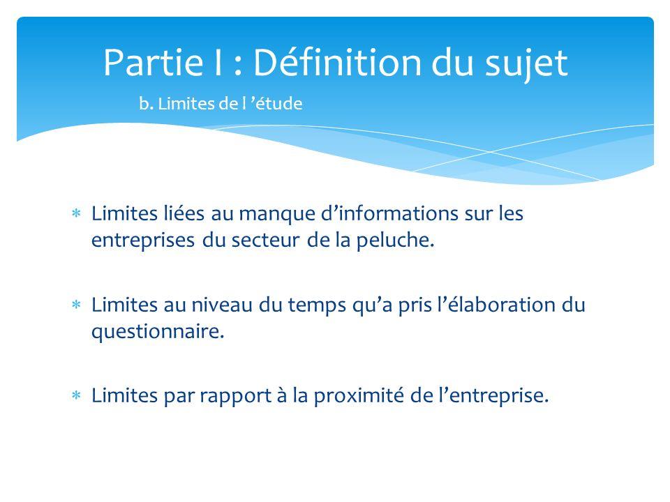 Limites liées au manque dinformations sur les entreprises du secteur de la peluche. Limites au niveau du temps qua pris lélaboration du questionnaire.