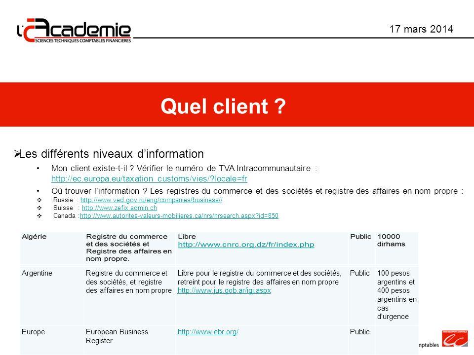 Les différents niveaux dinformation Mon client existe-t-il ? Vérifier le numéro de TVA Intracommunautaire : http://ec.europa.eu/taxation_customs/vies/