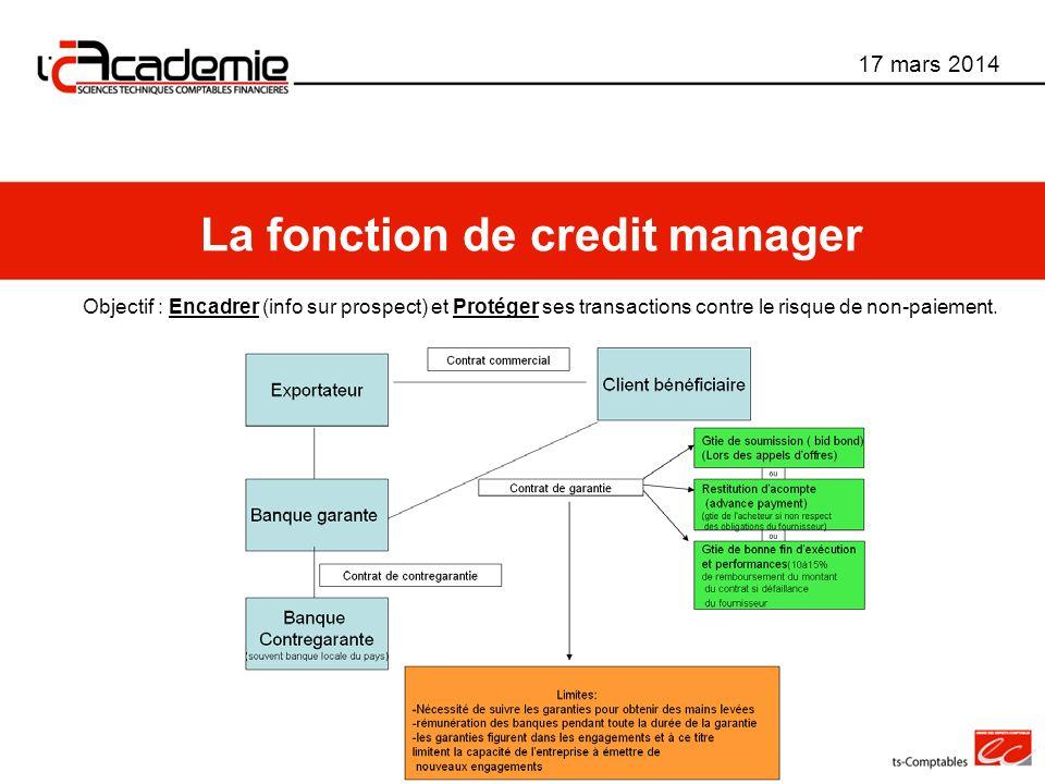 Objectif : Encadrer (info sur prospect) et Protéger ses transactions contre le risque de non-paiement. 17 mars 2014 La fonction de credit manager