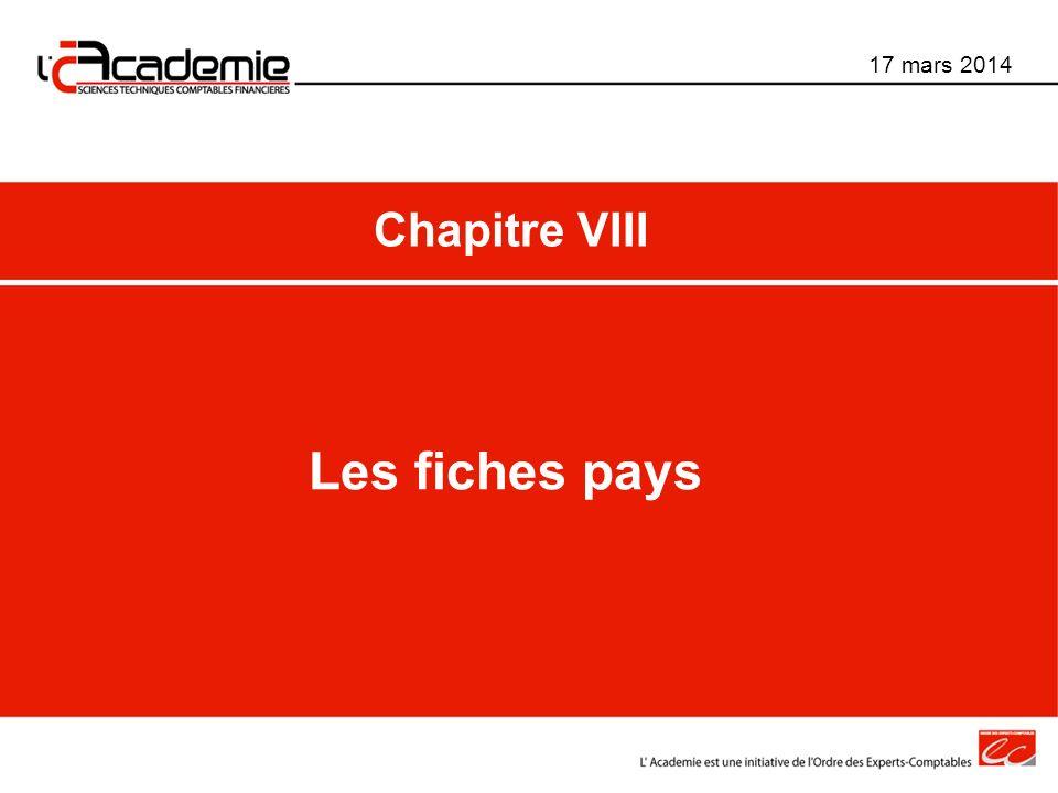 Les fiches pays 17 mars 2014 Chapitre VIII