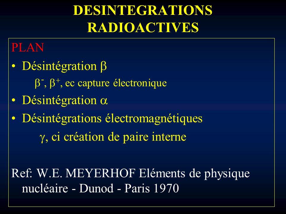 DESINTEGRATIONS RADIOACTIVES PLAN Désintégration -, +, ec capture électronique Désintégration Désintégrations électromagnétiques, ci création de paire
