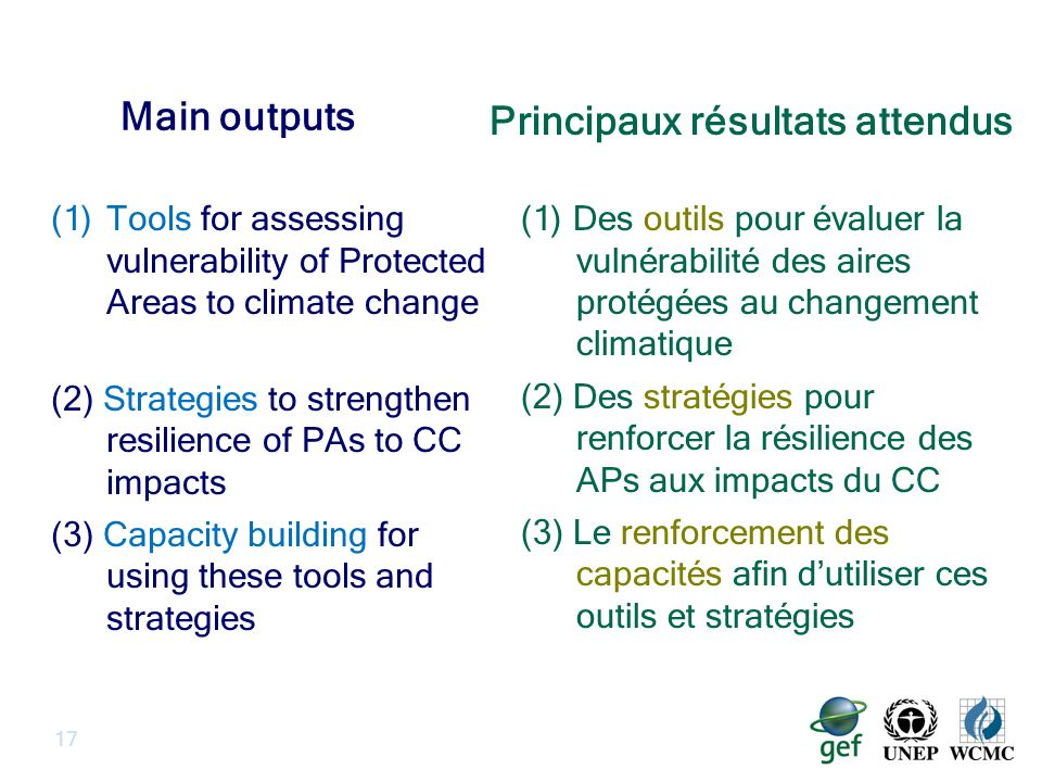 Main outputs (1)Tools for assessing vulnerability of Protected Areas to climate change (2) Strategies to strengthen resilience of PAs to CC impacts (3