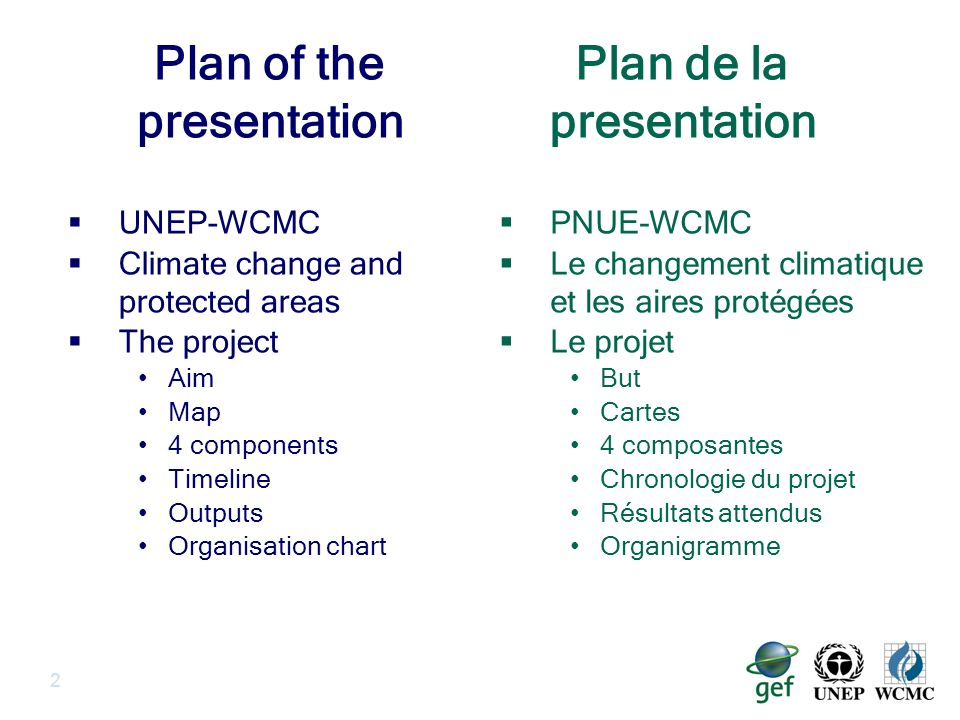 2 Plan of the presentation UNEP-WCMC Climate change and protected areas The project Aim Map 4 components Timeline Outputs Organisation chart PNUE-WCMC