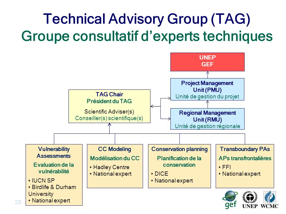 Technical Advisory Group (TAG) Groupe consultatif dexperts techniques 20 Project Management Unit (PMU) Unité de gestion du projet UNEP GEF TAG Chair Président du TAG Scientific Adviser(s) Conseiller(s) scientifique(s) Conservation planning Planification de la conservation DICE National expert CC Modeling Modélisation du CC Hadley Centre National expert Vulnerability Assessments Evaluation de la vulnérabilité IUCN SP Birdlife & Durham University National expert Regional Management Unit (RMU) Unité de gestion régionale Transboundary PAs APs transfrontalières FFI National expert