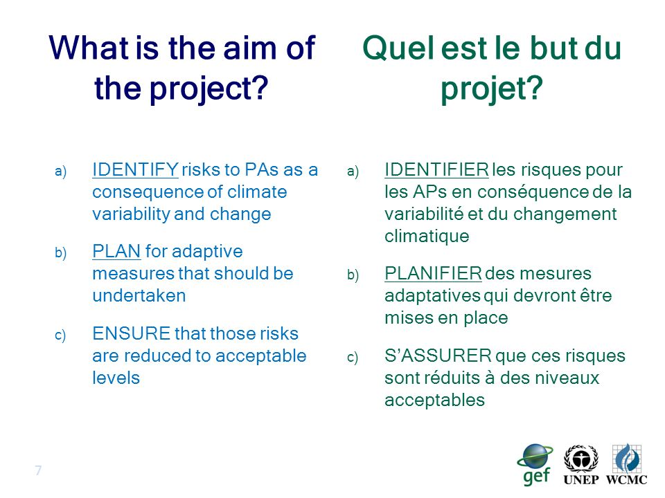 Project Characteristics The project relates to: Climate change (CC) and PAs Scientific tools and capacity building to use these tools Important characteristics: Regional approach: 5 countries Length of project : 5 years (2011-2015) Total cost: $15.6m $3.5m GEF $12.1m co-financing 8 Le projet a attrait: Au changement climatique et aux APs Aux outils scientifiques et au renforcement des capacités pour utiliser ces outils Caractéristiques importantes : Une approche régionale: 5 pays Durée du projet : 5 ans (2011- 2015) Cout total: $15.6m $3.5m GEF $12.1m cofinancement Caractéristiques du projet