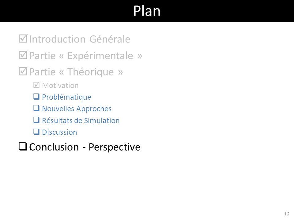 Introduction Générale Partie « Expérimentale » Partie « Théorique » Motivation Problématique Nouvelles Approches Résultats de Simulation Discussion Co
