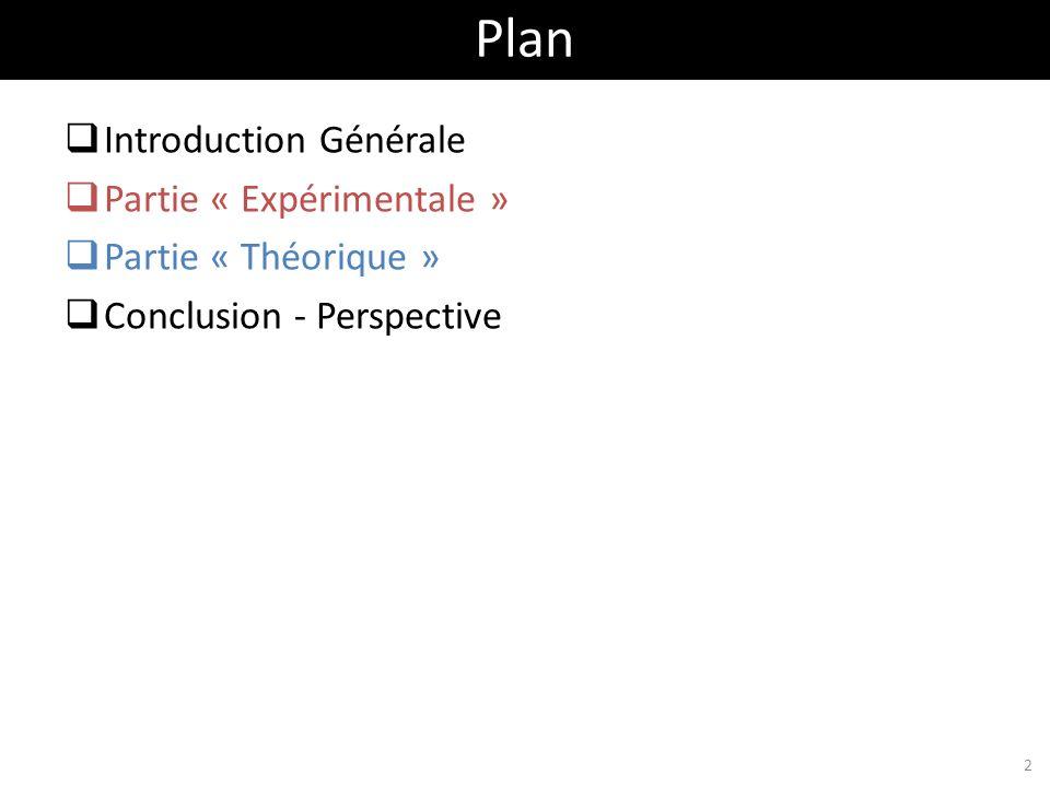 Introduction Générale Partie « Expérimentale » Partie « Théorique » Conclusion - Perspective Plan 2