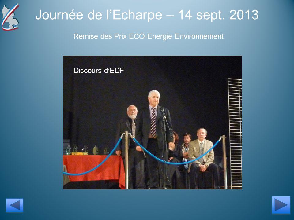 Journée de lEcharpe – 14 sept. 2013 Remise des Prix ECO-Energie Environnement Discours dEDF