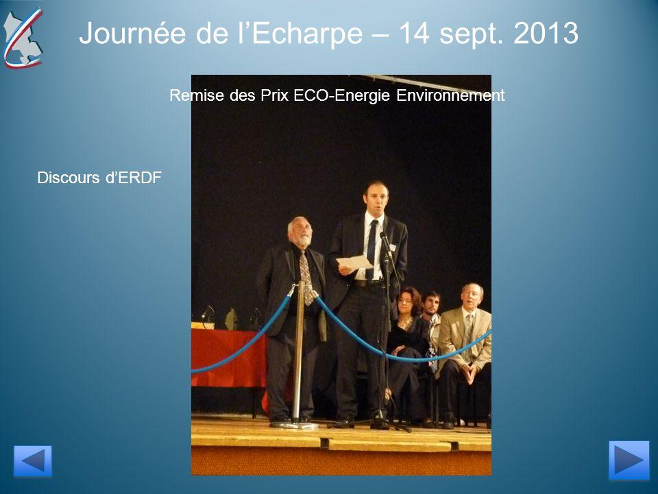 Journée de lEcharpe – 14 sept. 2013 Remise des Prix ECO-Energie Environnement Discours dERDF