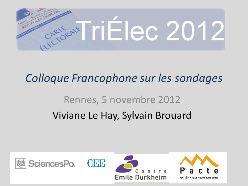 Le dispositif TriÉlec 2012 Viviane Le Hay & Sylvain Brouard 3 équipes de recherche Le Centre détudes européennes (Sciences Po Paris) Le PACTE (Sciences Po Grenoble) Le Centre Emile Durkheim (Sciences Po Bordeaux) 1 site internet dédié www.trielec2012.fr
