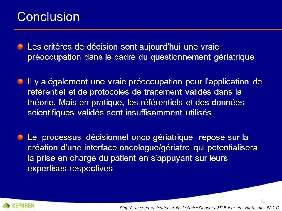 Conclusion Les critères de décision sont aujourdhui une vraie préoccupation dans le cadre du questionnement gériatrique Il y a également une vraie pré