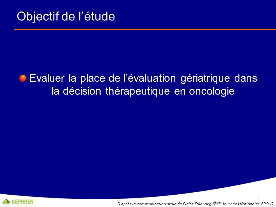 Objectif de létude Evaluer la place de lévaluation gériatrique dans la décision thérapeutique en oncologie 2 Daprès la communication orale de Claire F