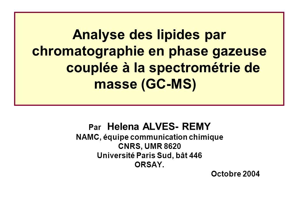 Analyse des lipides par chromatographie en phase gazeuse couplée à la spectrométrie de masse (GC-MS) Par Helena ALVES- REMY NAMC, équipe communication chimique CNRS, UMR 8620 Université Paris Sud, bât 446 ORSAY.