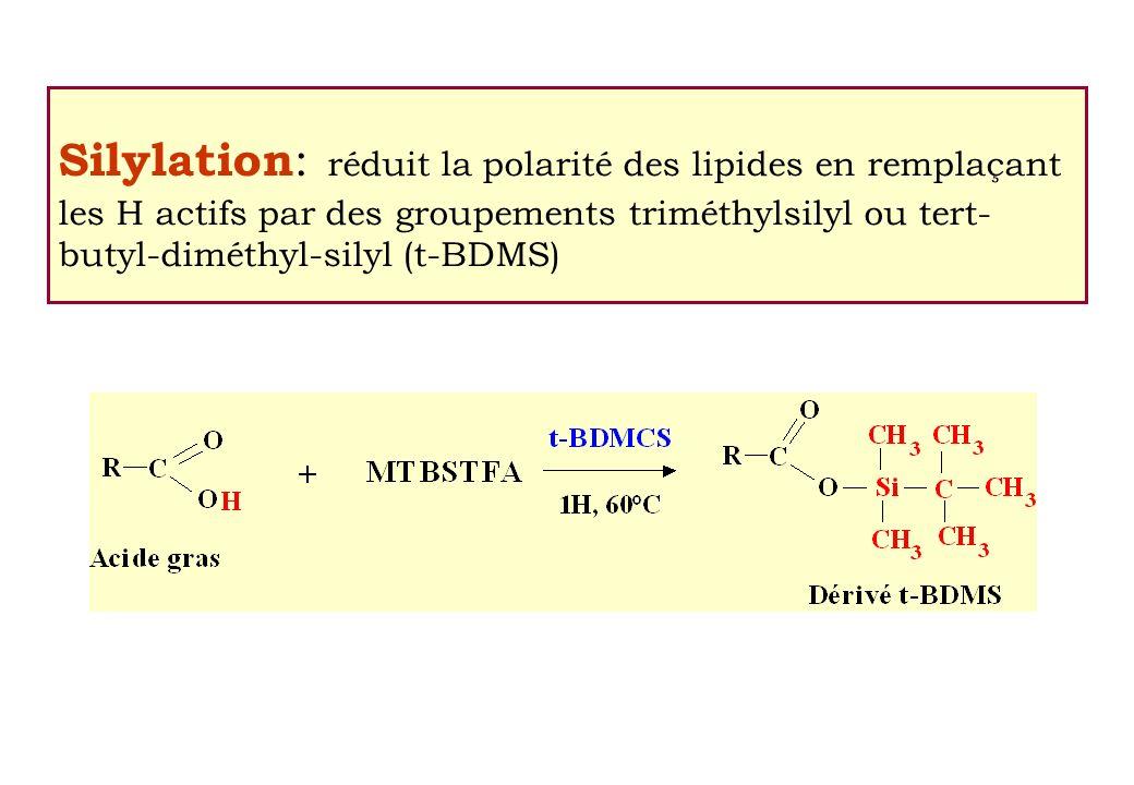 Silylation : réduit la polarité des lipides en remplaçant les H actifs par des groupements triméthylsilyl ou tert- butyl-diméthyl-silyl (t-BDMS)