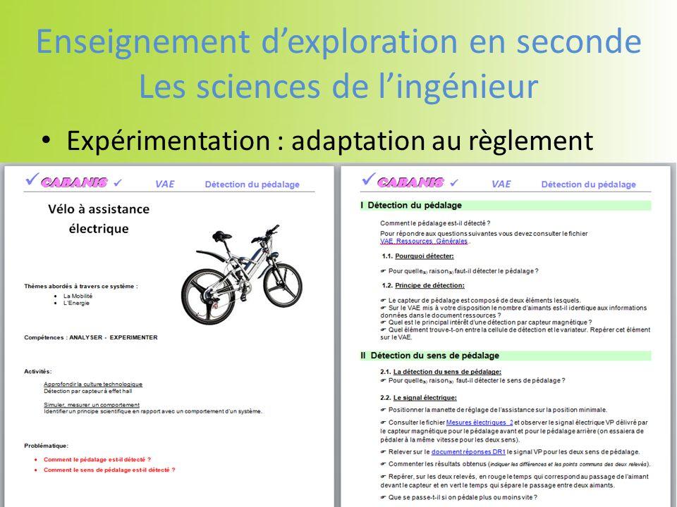 Expérimentation : adaptation au règlement Enseignement dexploration en seconde Les sciences de lingénieur