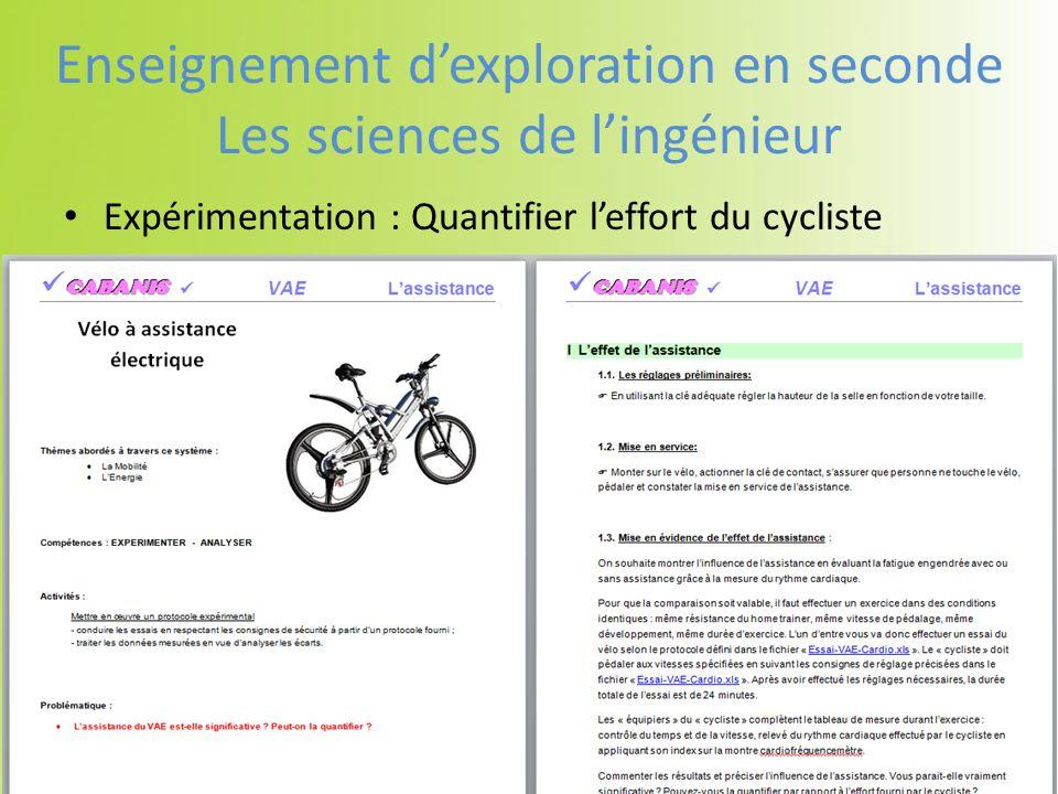 Expérimentation : Quantifier leffort du cycliste Enseignement dexploration en seconde Les sciences de lingénieur