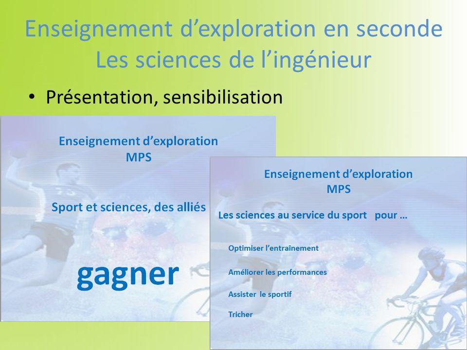 Présentation, sensibilisation Enseignement dexploration en seconde Les sciences de lingénieur