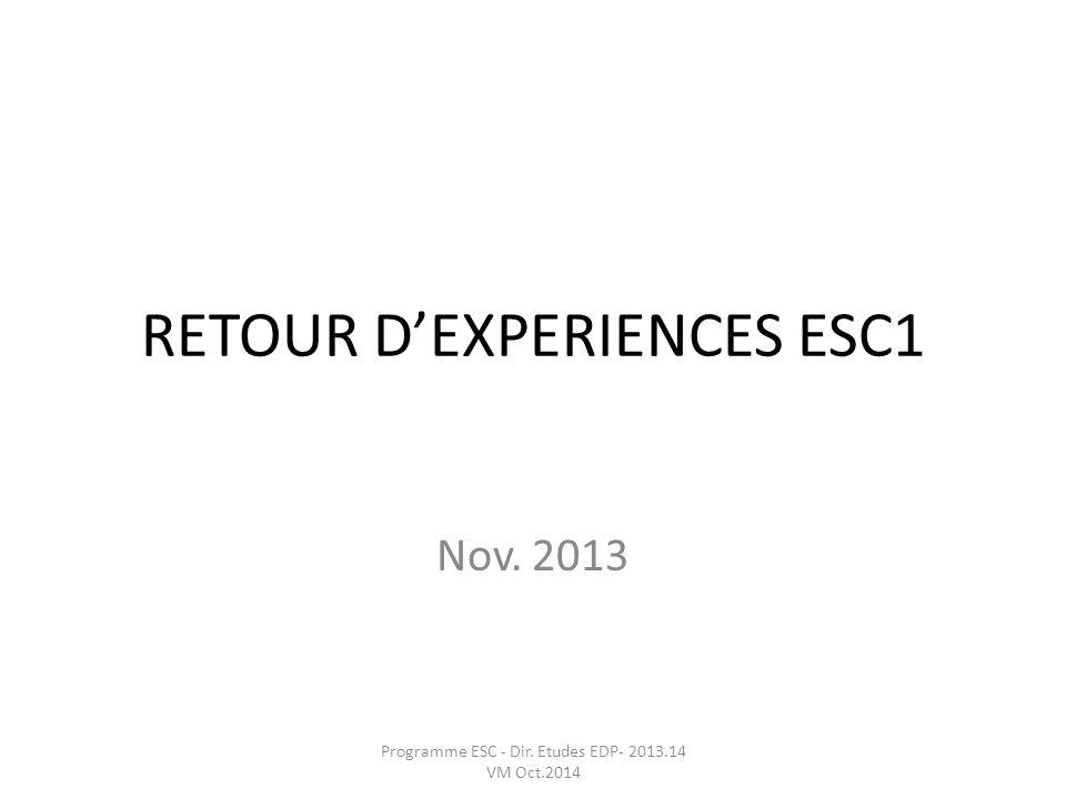 RETOUR DEXPERIENCES ESC1 Nov. 2013 Programme ESC - Dir. Etudes EDP- 2013.14 VM Oct.2014