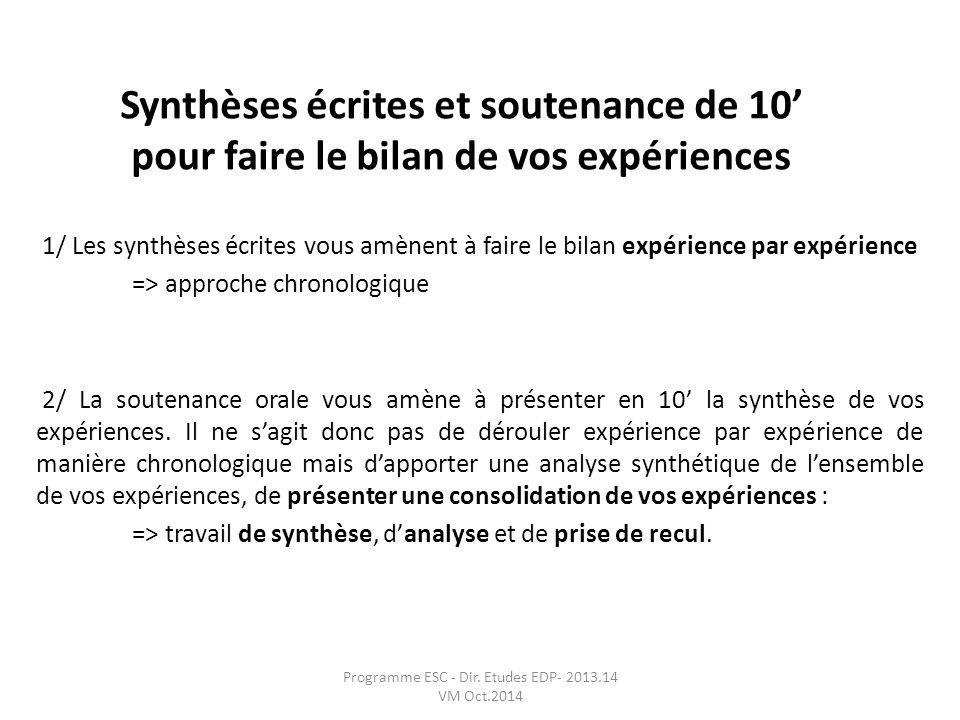 Synthèses écrites et soutenance de 10 pour faire le bilan de vos expériences 1/ Les synthèses écrites vous amènent à faire le bilan expérience par exp