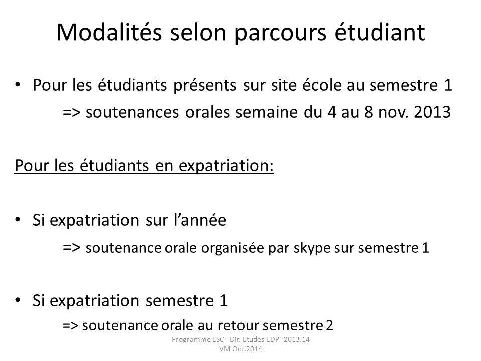 Modalités selon parcours étudiant Pour les étudiants présents sur site école au semestre 1 => soutenances orales semaine du 4 au 8 nov. 2013 Pour les
