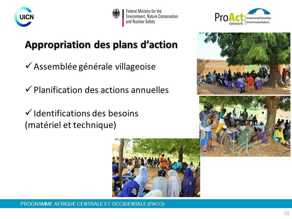 PROGRAMME AFRIQUE CENTRALE ET OCCIDENTALE (PACO) 10 Assemblée générale villageoise Planification des actions annuelles Identifications des besoins (ma