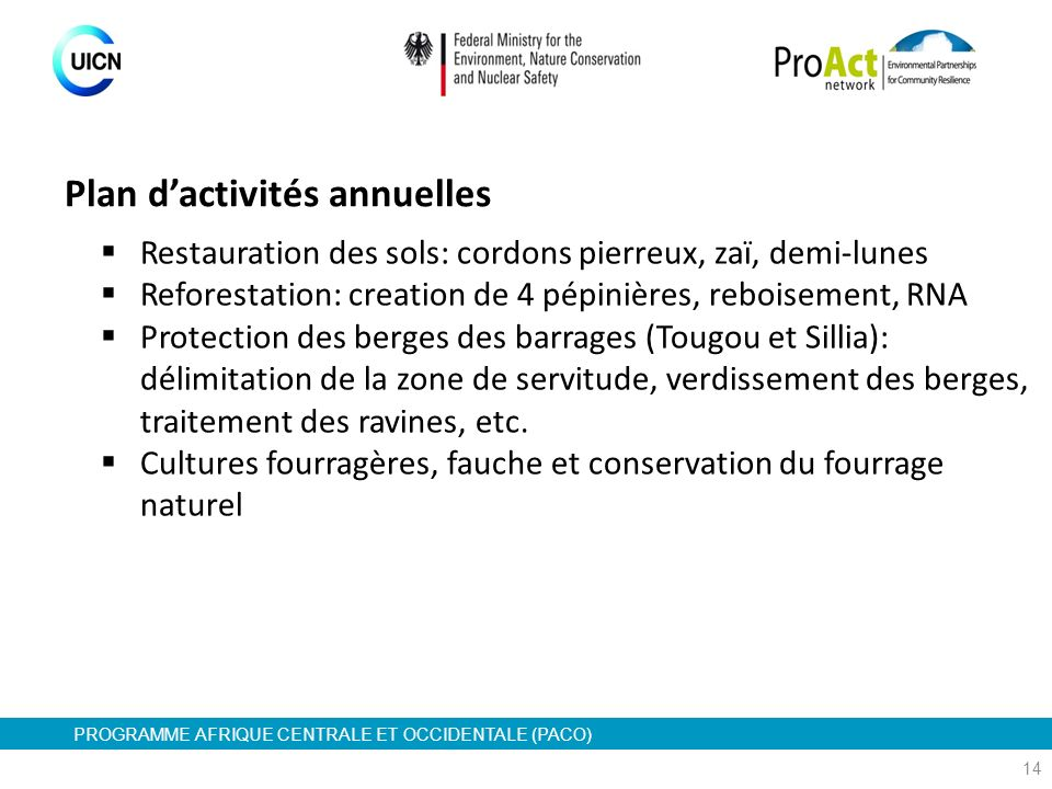 PROGRAMME AFRIQUE CENTRALE ET OCCIDENTALE (PACO) 14 Restauration des sols: cordons pierreux, zaï, demi-lunes Reforestation: creation de 4 pépinières,