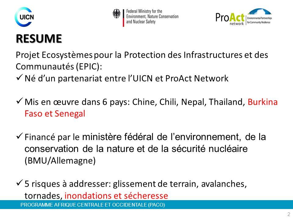 PROGRAMME AFRIQUE CENTRALE ET OCCIDENTALE (PACO) RESUME Projet Ecosystèmes pour la Protection des Infrastructures et des Communautés (EPIC): Né dun pa