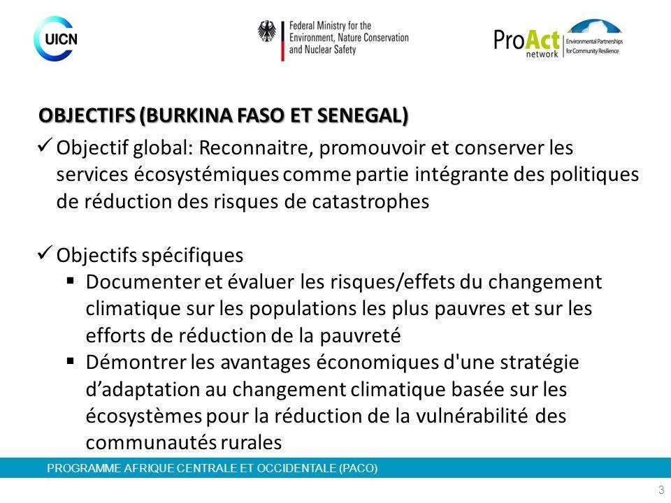 PROGRAMME AFRIQUE CENTRALE ET OCCIDENTALE (PACO) Objectif global: Reconnaitre, promouvoir et conserver les services écosystémiques comme partie intégr