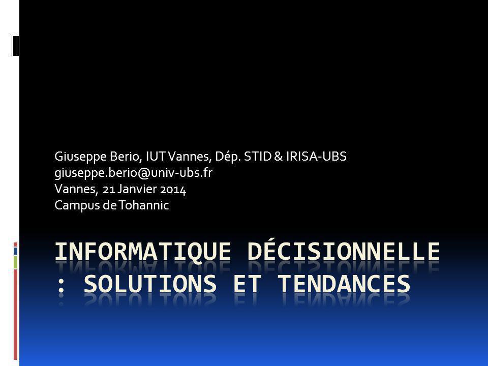 Conclusions Les outils dinformatique décisionnelle permettent aujourdhui une utilisation de plus en plus simple Les solutions et architectures actuelles permettent une amélioration significative des performances Mais les données doivent être toujours manipulées avec précaution Les analyses doutils se multiplient, par exemple : http://itadvisor.technologyevaluation.com/%28S%28xw0k wt55e1f33f55pizk2z45%29%29/SurveyFlow.aspx http://www.datamation.com/open-source/50-open- source-replacements-for-proprietary-business- intelligence-software-4.html(juin 2012) 12