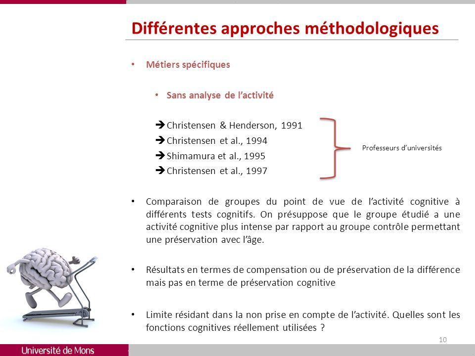 Différentes approches méthodologiques Métiers spécifiques Sans analyse de lactivité Christensen & Henderson, 1991 Christensen et al., 1994 Shimamura e