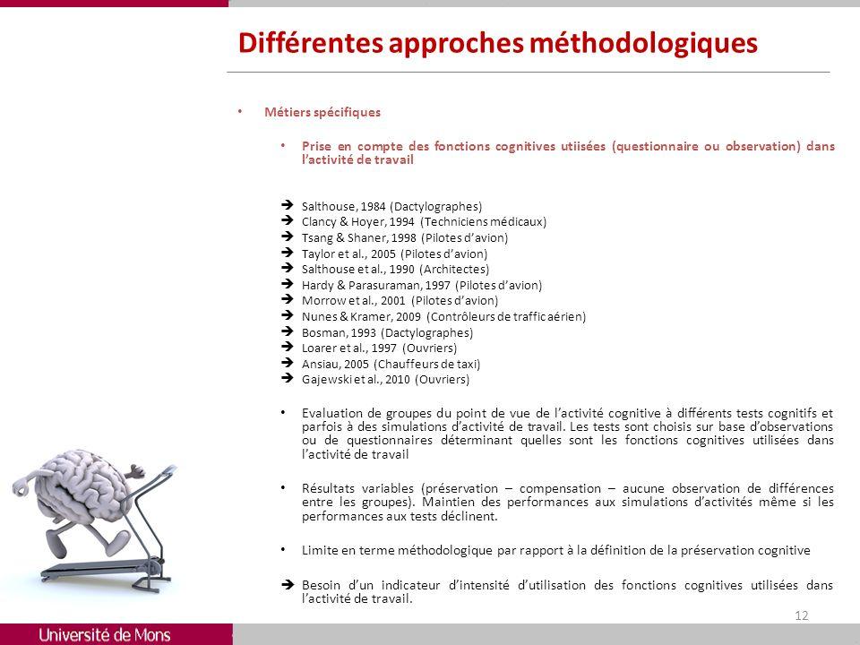 Différentes approches méthodologiques Métiers spécifiques Prise en compte des fonctions cognitives utiisées (questionnaire ou observation) dans lactiv