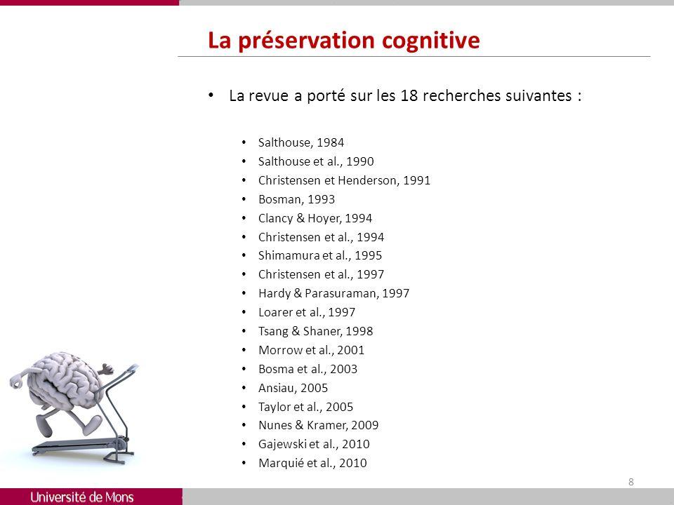 La préservation cognitive La revue a porté sur les 18 recherches suivantes : Salthouse, 1984 Salthouse et al., 1990 Christensen et Henderson, 1991 Bos