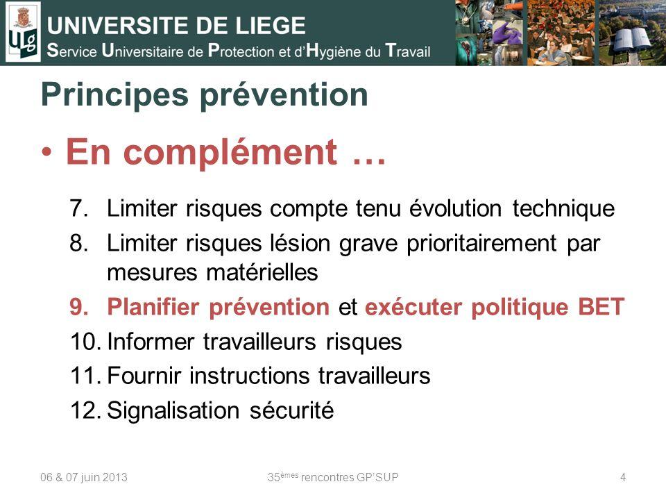 Principes prévention En complément … 7.Limiter risques compte tenu évolution technique 8.Limiter risques lésion grave prioritairement par mesures maté