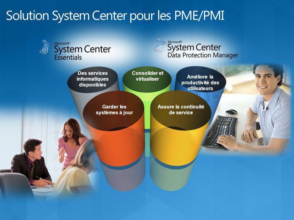 Une solution unifiée pour les PME Une solution unifiée à console unique pour gérer vos serveurs physiques et virtuels, ainsi que vos ordinateurs, matériels, logiciels et services informatiques.