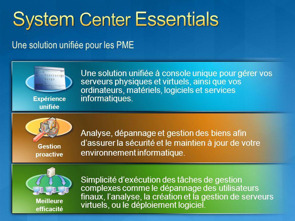 Une solution unifiée pour les PME Une solution unifiée à console unique pour gérer vos serveurs physiques et virtuels, ainsi que vos ordinateurs, maté