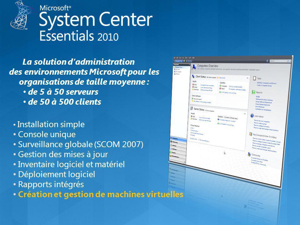 Installation simple Console unique Surveillance globale (SCOM 2007) Gestion des mises à jour Inventaire logiciel et matériel Déploiement logiciel Rapp
