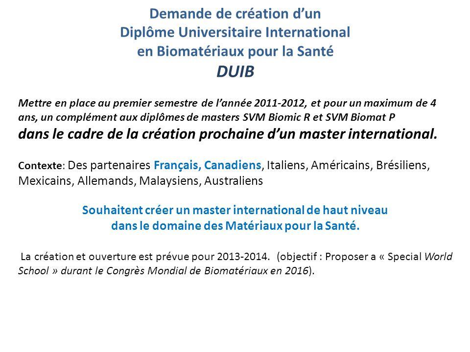 Demande de création dun Diplôme Universitaire International en Biomatériaux pour la Santé DUIB Mettre en place au premier semestre de lannée 2011-2012