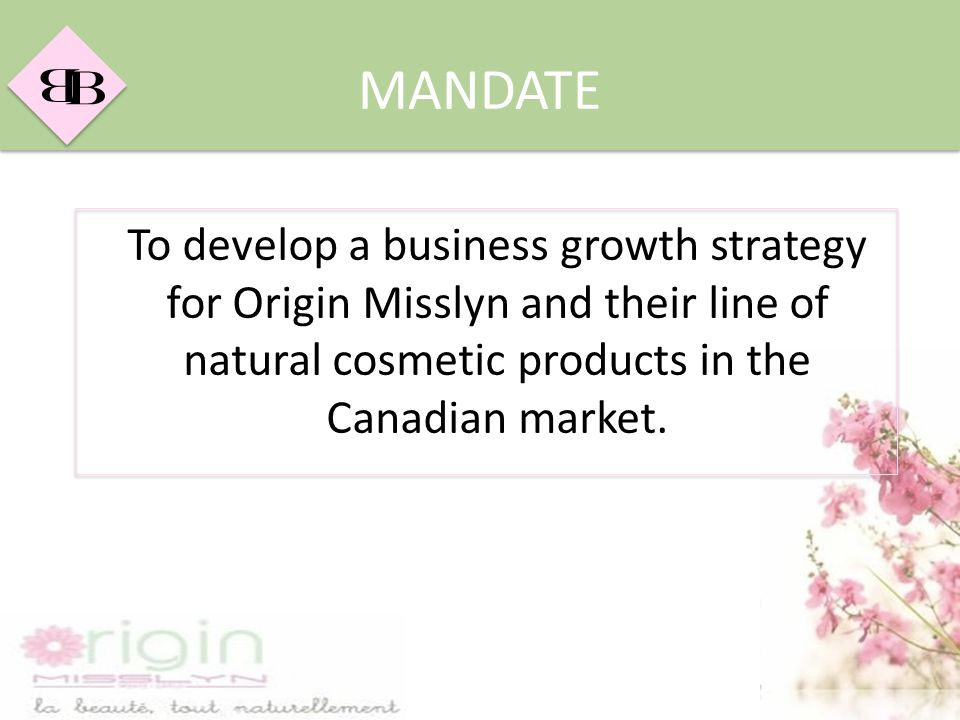 B B MANDATE To develop a business growth strategy for Origin Misslyn and their line of natural cosmetic products in the Canadian market.