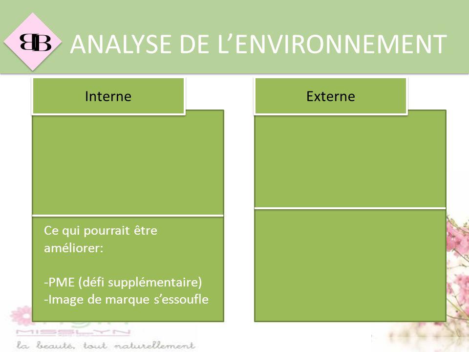 B B ANALYSE DE LENVIRONNEMENT Ce qui pourrait être améliorer: -PME (défi supplémentaire) -Image de marque sessoufle Interne Externe