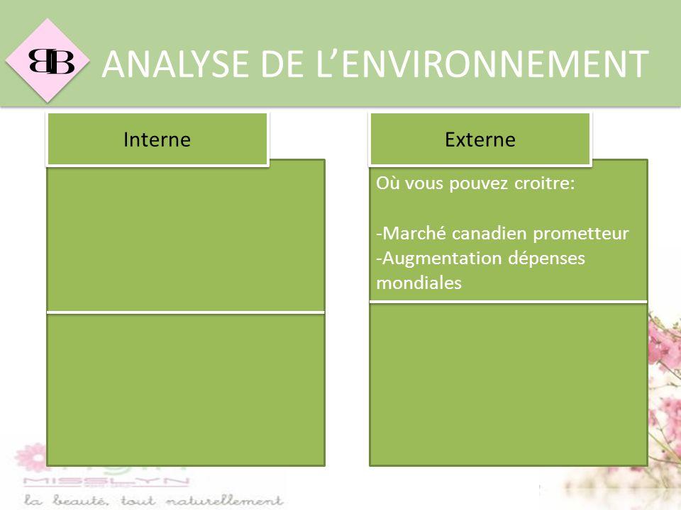 B B ANALYSE DE LENVIRONNEMENT Où vous pouvez croitre: -Marché canadien prometteur -Augmentation dépenses mondiales Interne Externe
