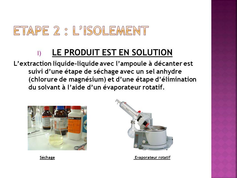 I) LE PRODUIT EST EN SOLUTION Lextraction liquide-liquide avec lampoule à décanter est suivi dune étape de séchage avec un sel anhydre (chlorure de ma