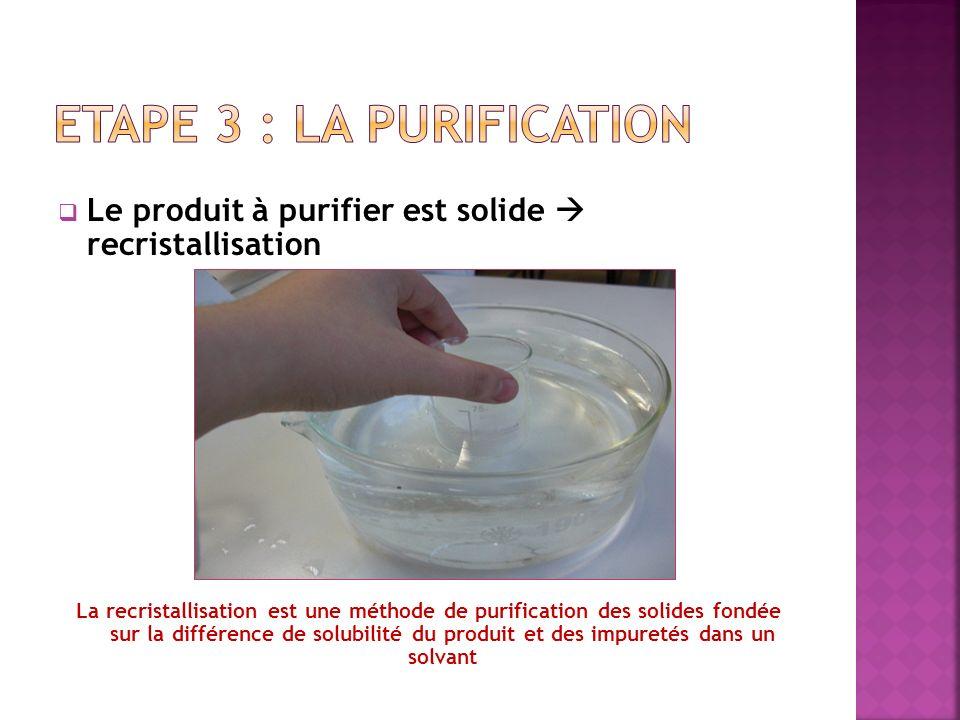 Le produit à purifier est solide recristallisation La recristallisation est une méthode de purification des solides fondée sur la différence de solubi