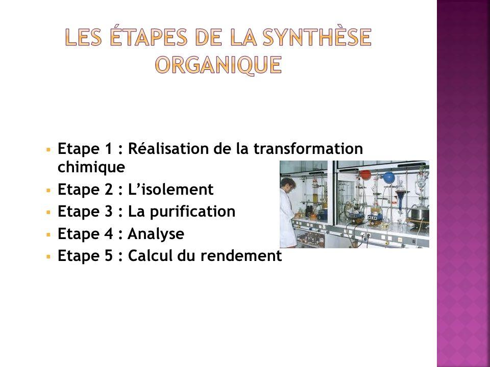 Etape 1 : Réalisation de la transformation chimique Etape 2 : Lisolement Etape 3 : La purification Etape 4 : Analyse Etape 5 : Calcul du rendement