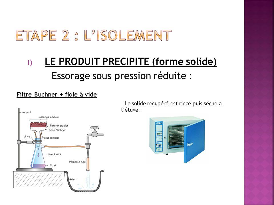 I) LE PRODUIT PRECIPITE (forme solide) Essorage sous pression réduite : Filtre Buchner + fiole à vide Le solide récupéré est rincé puis séché à létuve