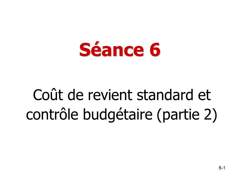 Séance 6 Coût de revient standard et contrôle budgétaire (partie 2) 6-1