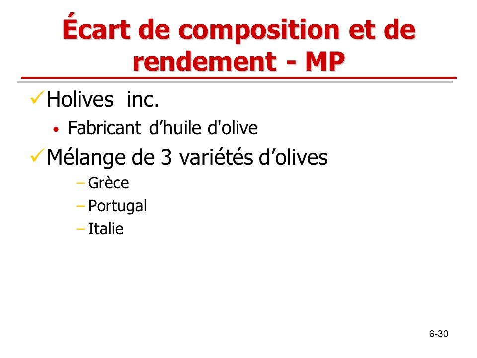 Écart de composition et de rendement - MP Holives inc.