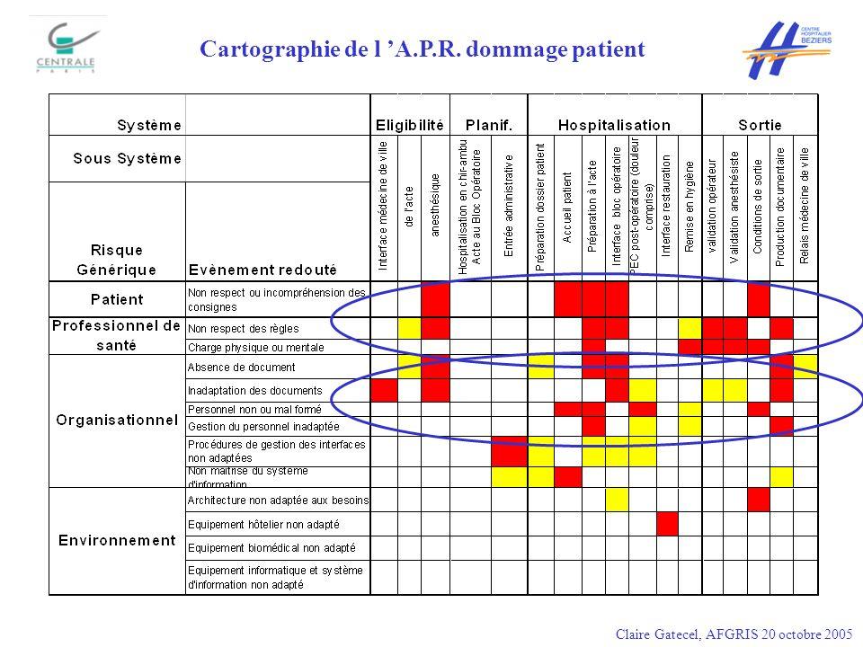 Cartographie de l A.P.R. dommage patient Claire Gatecel, AFGRIS 20 octobre 2005