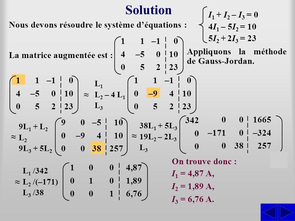 Solution Nous devons résoudre le système déquations : La matrice augmentée est : On trouve donc : I1 I1 = 4,87 A, I2 I2 = 1,89 A, I3 I3 = 6,76 A. I 1