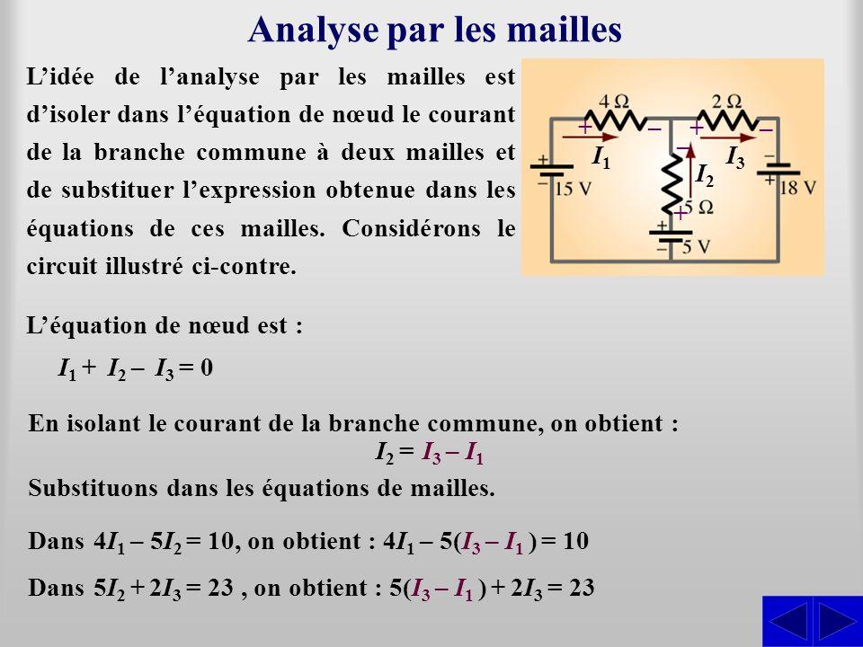 Analyse par les mailles Lidée de lanalyse par les mailles est disoler dans léquation de nœud le courant de la branche commune à deux mailles et de sub
